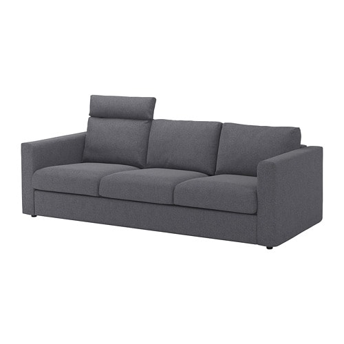 Vimle 3 Seat Sofa With Headrest Gunnared Medium Grey Ikea