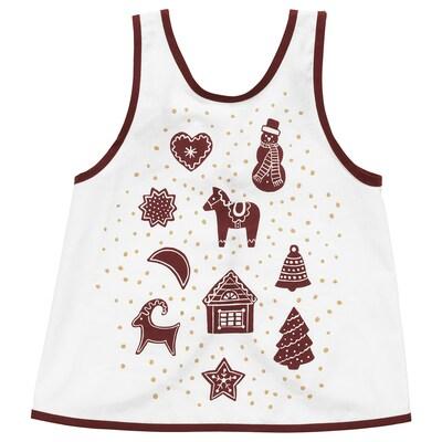 VINTER 2020 Children's apron, gingerbread pattern white/brown, 2-4