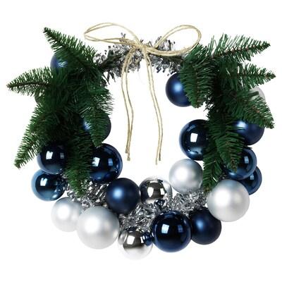 VINTER 2020 Decoration, wreath, blue/silver-colour, 35 cm