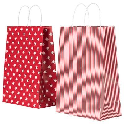 VINTER 2020 Gift bag, star pattern/stripe pattern red/white, 26x35 cm