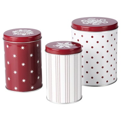 VINTER 2020 Tin with lid, set of 3, mixed sizes white/red