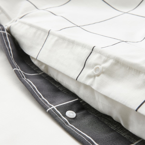VITKLÖVER Duvet cover and 2 pillowcases, white black/check, 200x200/50x80 cm