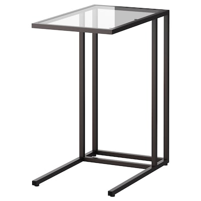 VITTSJÖ Laptop stand, black-brown/glass, 35x65 cm