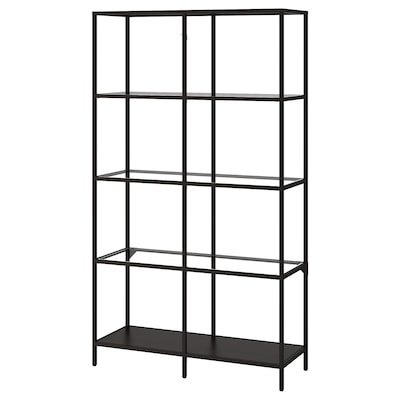VITTSJÖ Shelving unit, black-brown/glass, 100x175 cm