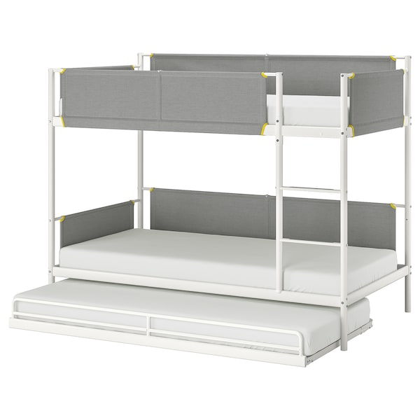 VITVAL Bunk bed frame with underbed - white, light grey - IKEA