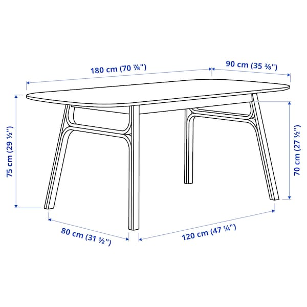VOXLÖV / ODGER Table and 4 chairs, bamboo/anthracite, 180x90 cm