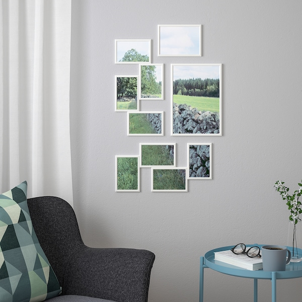 YLLEVAD Collage frame for 4 photos, white, 21x41 cm