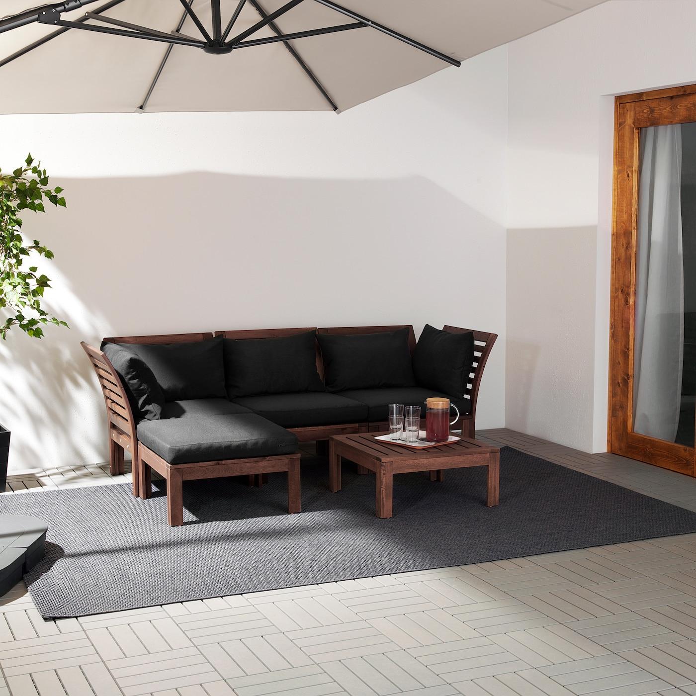 ÄPPLARÖ 3-seda modularna zofa, zunanja, s podnožnikom rjavo luženo/Hållö črna, 143/223x80x78 cm