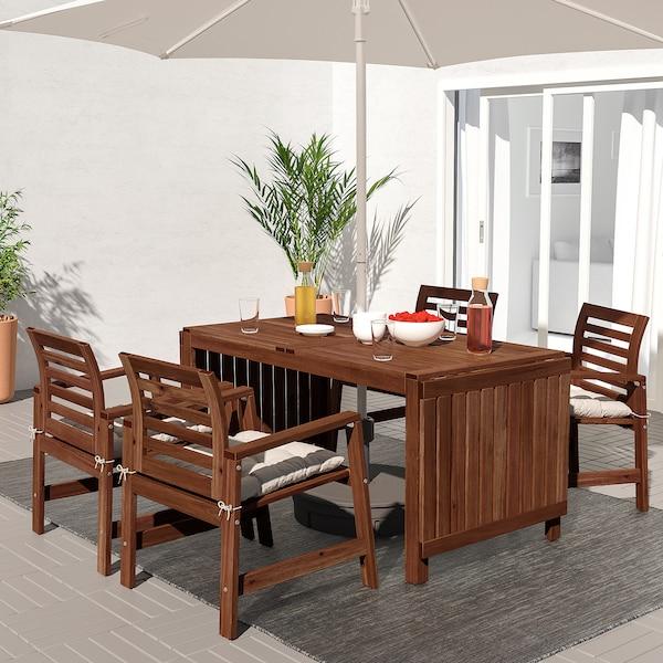 ÄPPLARÖ Miza+4 stoli z nasl za roke,zunanji, rjavo luženo/Kuddarna siva