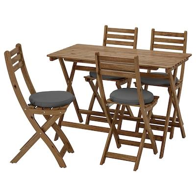 ASKHOLMEN Miza+4 zložljivi stoli, zunanji, sivo rjavo luženo/Frösön/Duvholmen temno siva