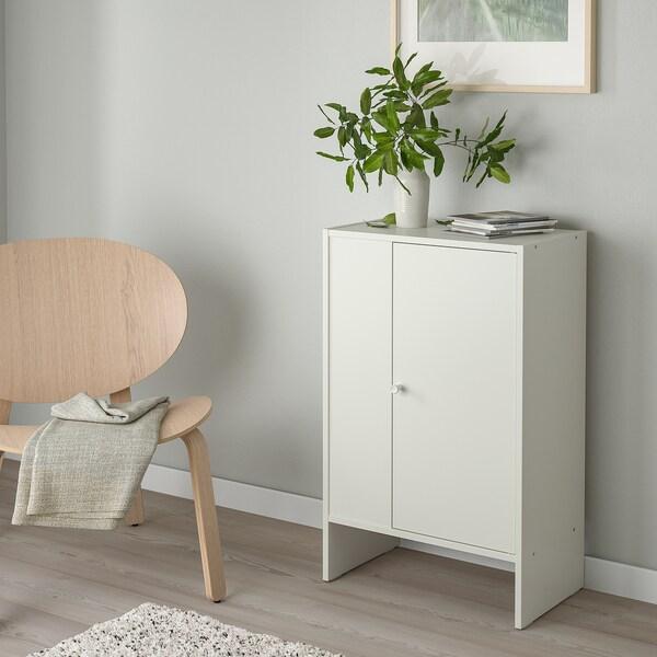 BAGGEBO Omarica z vrati, bela, 50x30x80 cm