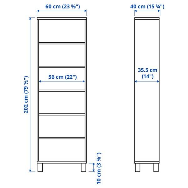 BESTÅ Omarica, črno rjava, 60x40x202 cm
