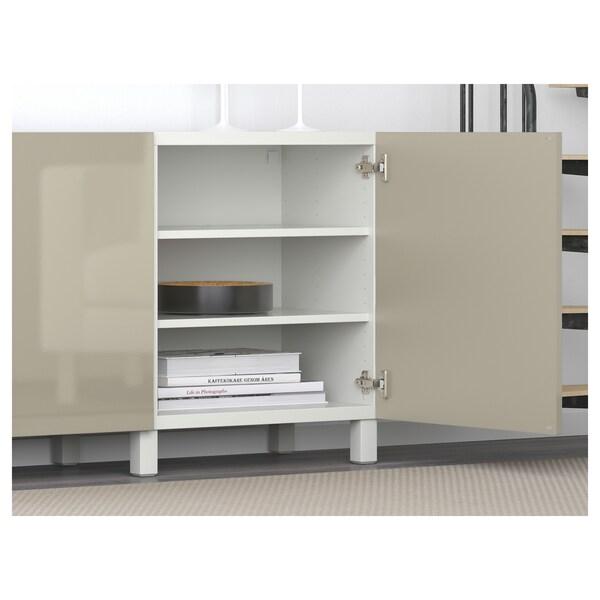 BESTÅ Pohištveni sestav z vrati, bela/Selsviken/Stubbarp visoki sijaj/bež, 180x42x74 cm