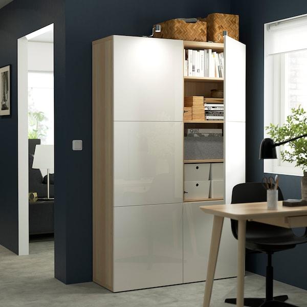 BESTÅ Pohištveni sestav z vrati, imitacija beljenega hrasta/Selsviken visoki sijaj/bela, 120x42x193 cm