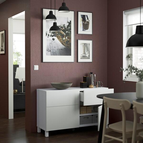 BESTÅ Pohištveni sestav z vrati/predali, bela/Timmerviken/Stubbarp bela, 120x42x74 cm