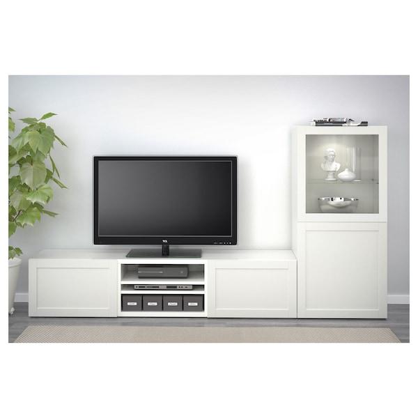 BESTÅ Pohištveni sestav za TV/stkl vrata, bela/Hanviken belo prozorno steklo, 240x42x129 cm