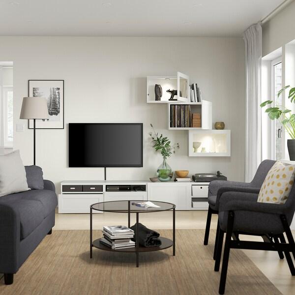 BESTÅ Pohištveni sestav za TV/stkl vrata, bela/Hanviken belo prozorno steklo, 240x42x190 cm