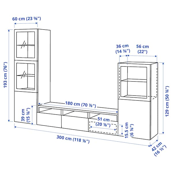 BESTÅ Pohištveni sestav za TV/stkl vrata, bela/Lappviken belo prozorno steklo, 300x42x193 cm