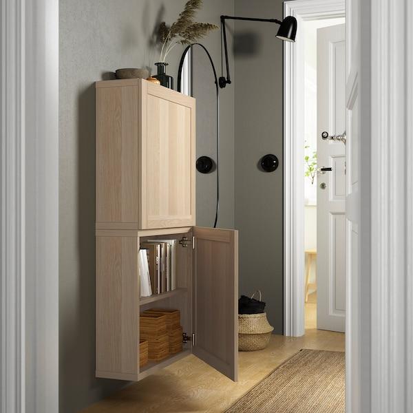 BESTÅ Viseča omarica z 2 vrati, imitacija beljenega hrasta/Hanviken imitacija beljenega hrasta, 60x22x128 cm