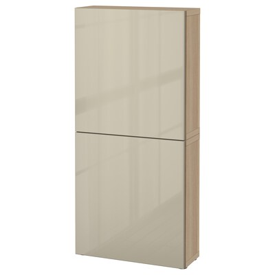 BESTÅ Viseča omarica z 2 vrati, imitacija beljenega hrasta/Selsviken visoki sijaj/bež, 60x22x128 cm
