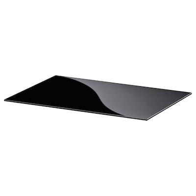 BESTÅ Vrhnja plošča, steklo črna, 60x40 cm