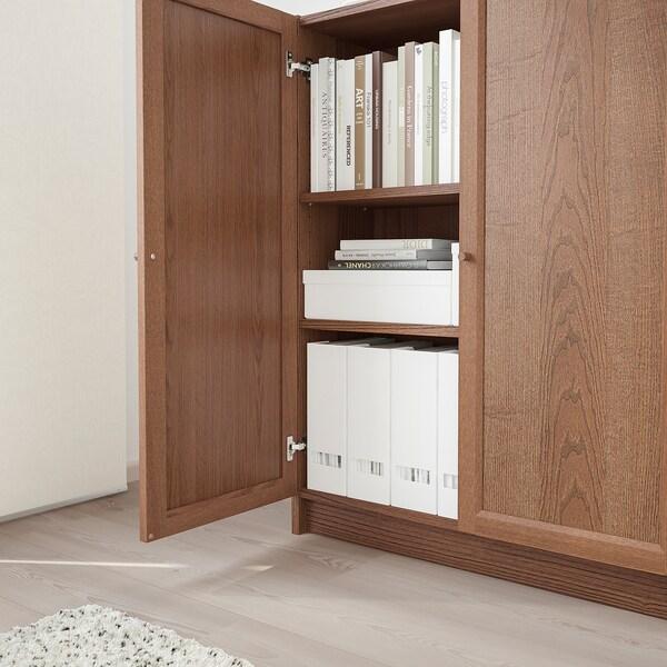BILLY / OXBERG Knjižna omara z vrati, rjava jesenov furnir, 80x30x106 cm