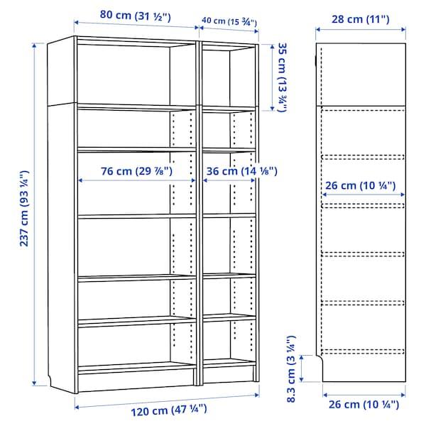 BILLY Sestav knjižne omare/nadgrad enota, črno rjava, 120x28x237 cm