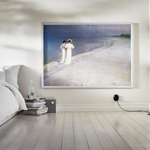 BJÖRKSTA Slika z okvirjem, poletni večer na plaži Skagen/barva aluminija, 140x100 cm