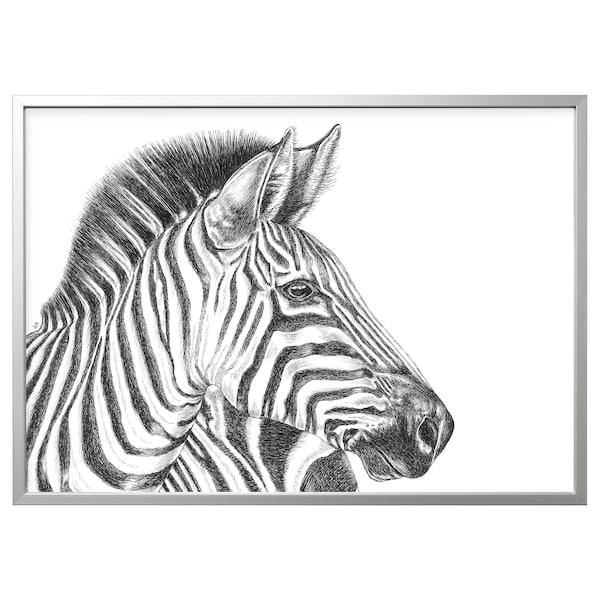 BJÖRKSTA Slika z okvirjem, risba zebre/barva aluminija, 140x100 cm