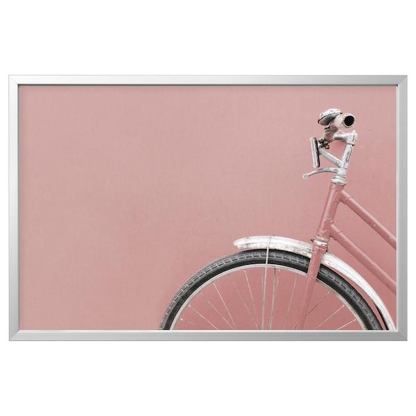 BJÖRKSTA Slika z okvirjem, rožnato kolo/barva aluminija, 118x78 cm