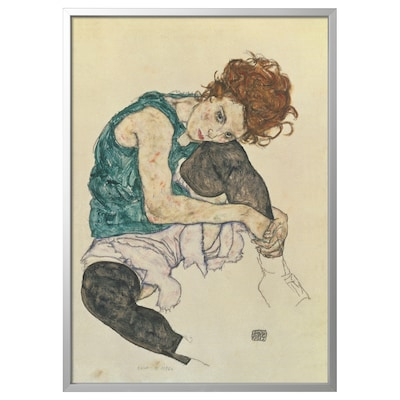 BJÖRKSTA Slika z okvirjem, Sedeča ženska s pokrčenim kolenom/barva aluminija, 78x118 cm