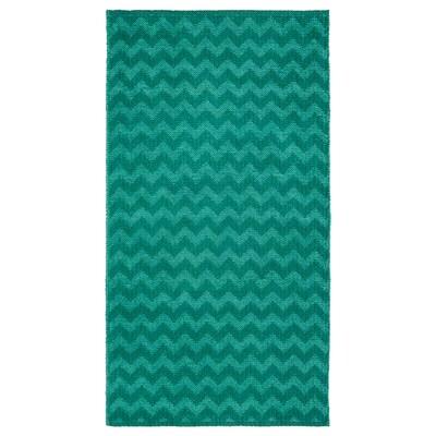 BREDEVAD Preproga, plosko tkana, cikcak vzorec zelena, 75x150 cm