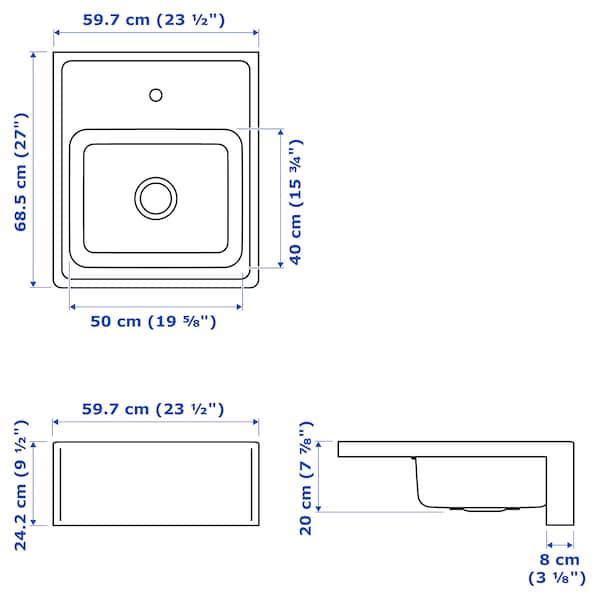 BREDSJÖN Korito z vidno sprednjo stranico, nerjaveče jeklo, 60x69 cm
