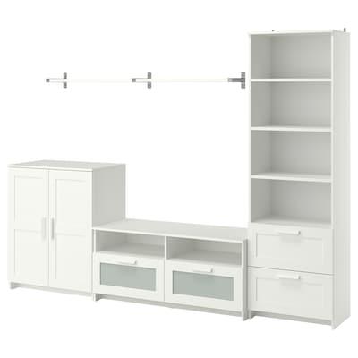 BRIMNES / BERGSHULT Pohištveni sestav za TV, bela, 258x41x190 cm