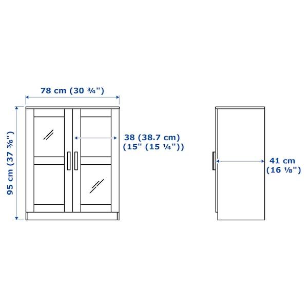 BRIMNES Omarica z vrati, steklo/bela, 78x95 cm