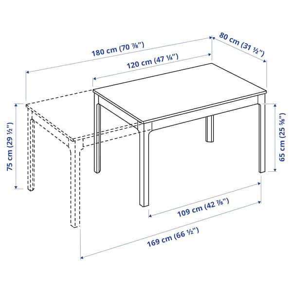EKEDALEN Raztegljiva miza, bela, 120/180x80 cm