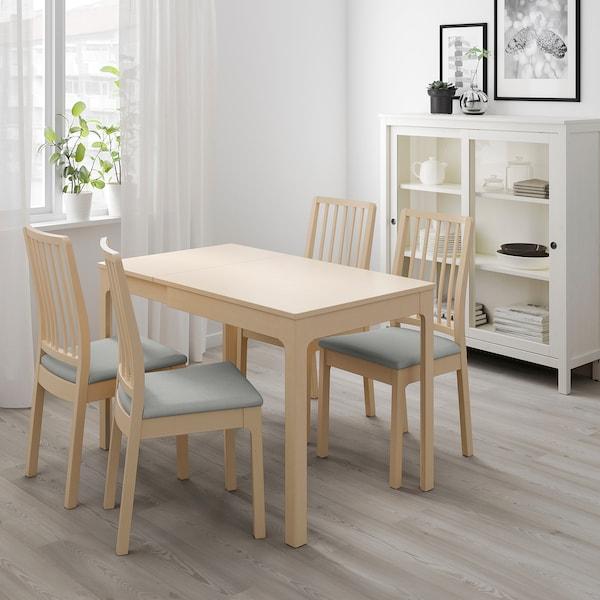 EKEDALEN Raztegljiva miza, breza, 80/120x70 cm