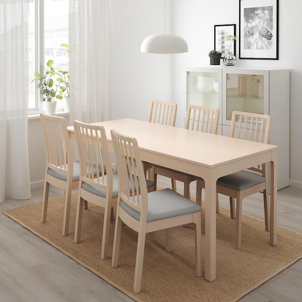 EKEDALEN Raztegljiva miza, breza, 120/180x80 cm
