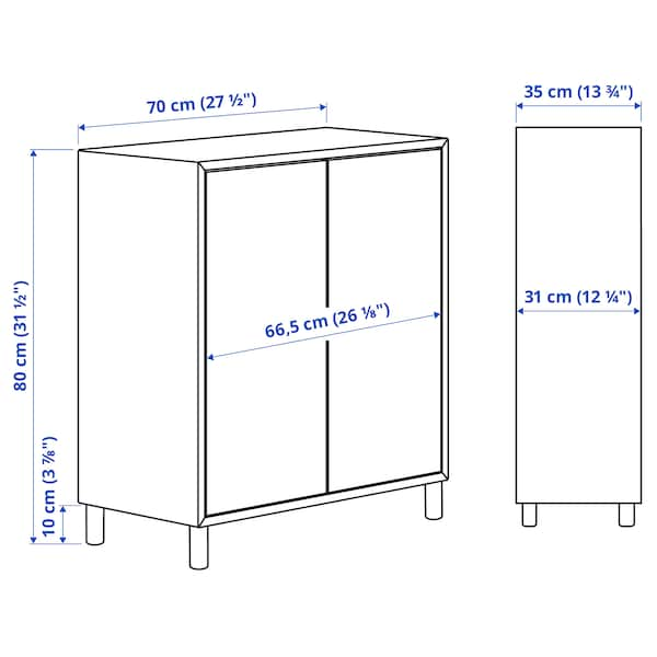 EKET Sestav omaric z nogami, temno siva/les, 70x35x80 cm