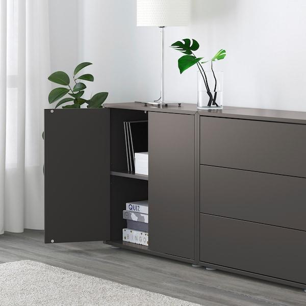 EKET Sestav omaric z nogicami, temno siva, 280x35x72 cm