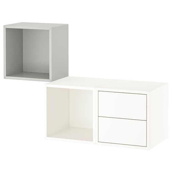 EKET Stenski sestav za shranjevanje, svetlo siva/bela, 105x35x70 cm