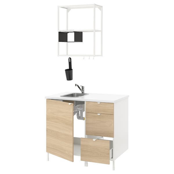 ENHET Kuhinja, bela/imitacija hrasta, 103x63.5x222 cm