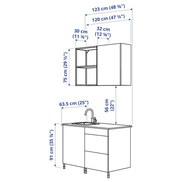 ENHET Kuhinja, bela/siva okvir, 123x63.5x222 cm