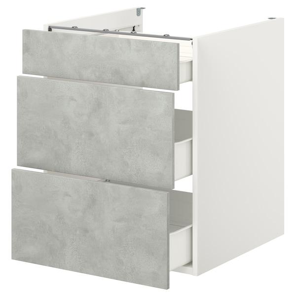 ENHET Podstavna omarica s 3 predali, bela/imitacija betona, 60x62x75 cm