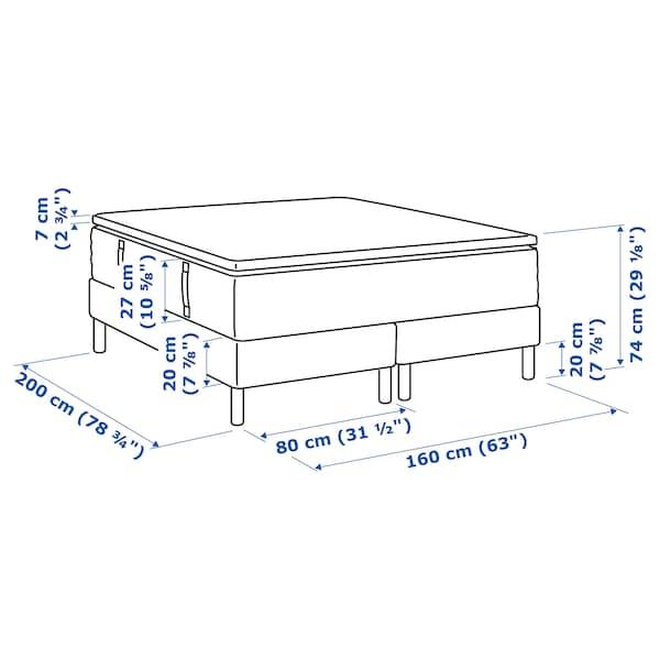ESPEVÄR Divanska postelja, Hyllestad čvrst/Tustna bela, 160x200 cm
