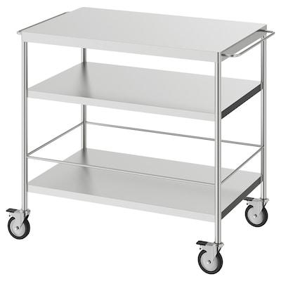 FLYTTA Kuhinjski voziček, nerjaveče jeklo, 98x57 cm