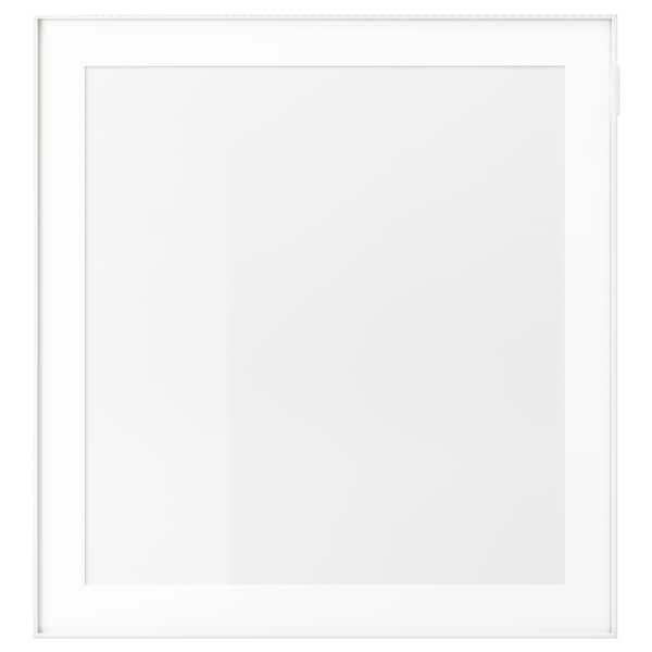 GLASSVIK Steklena vrata, bela/prozorno steklo, 60x64 cm