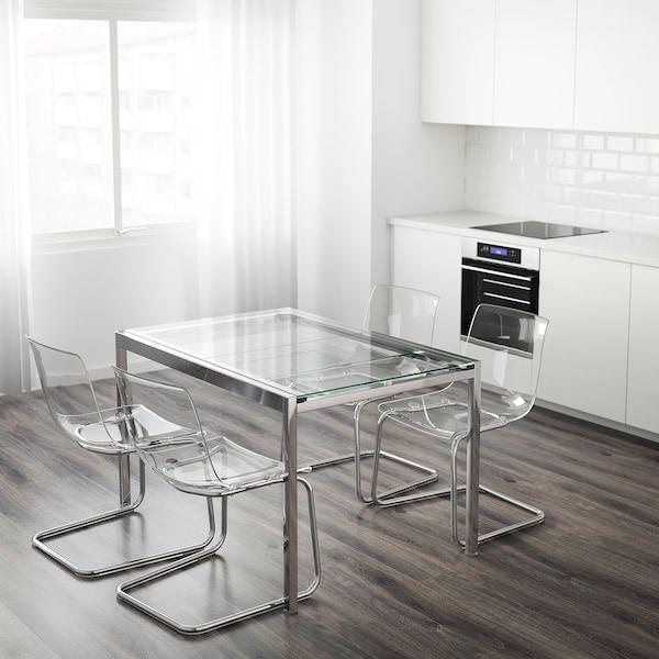 GLIVARP Raztegljiva miza, prozorno/kromirano, 125/188x85 cm