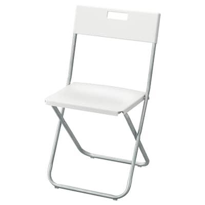 GUNDE Zložljiv stol, bela