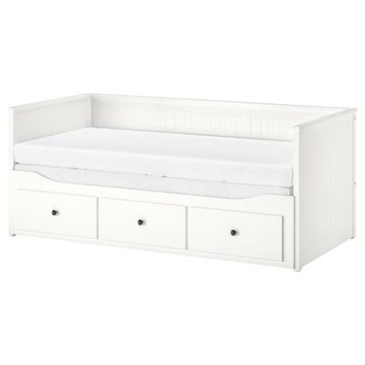 HEMNES Dnevna postelja+3 pr/2 post vložka, bela/Malfors srednje čvrst, 80x200 cm